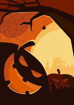 Poster spettrale con teste di zucca. cartello di halloween in stile cartone animato.