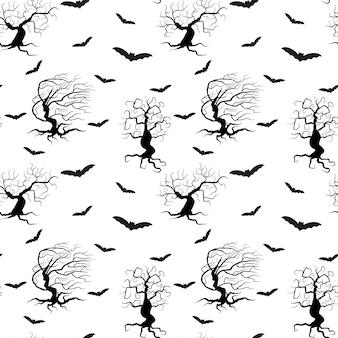 Alberi spettrali modello senza cuciture isolato illustrazione vettoriale sagome nere di piante e pipistrelli