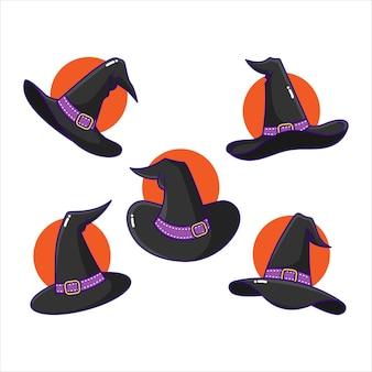 Decorazione del costume di halloween con cappello da strega spettrale