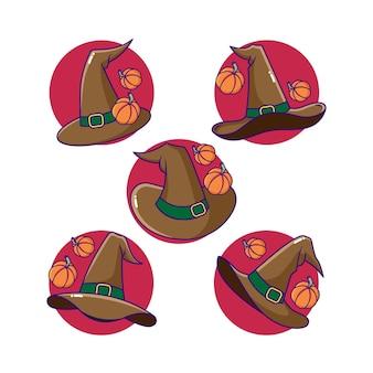 Cappello da strega spettrale con costume di halloween zucca