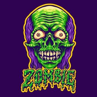 Testa di zombie spettrale e testo illustrazioni vettoriali per il tuo lavoro logo, t-shirt di merce mascotte, adesivi e disegni di etichette, poster, biglietti di auguri che pubblicizzano società o marchi.