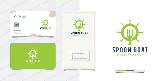 Cucchiaio e biglietto da visita design del volante