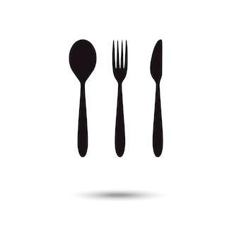 Cucchiaio, forchetta e coltello icone isolate su sfondo bianco.