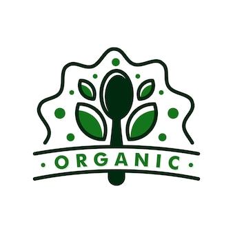 Illustrazione dell'icona del design del logo dell'alimento biologico foglia di cucchiaio