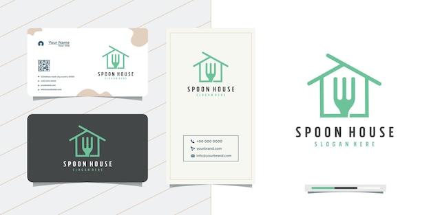 Design del logo e biglietto da visita della casa della linea del cucchiaio