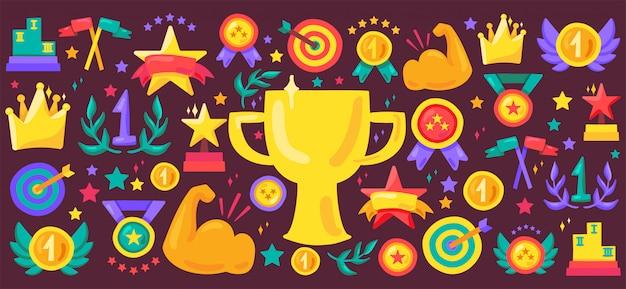 Insieme dell'icona di vettore del fumetto di successo di sport. premi illustrazioni piatte. adesivi trofeo campione