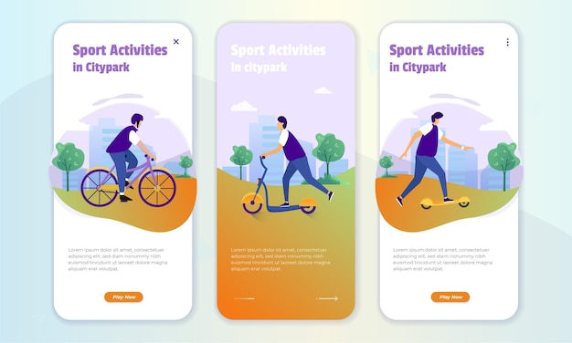 Illustrazione di attività sportive nel parco cittadino sul set dello schermo di bordo