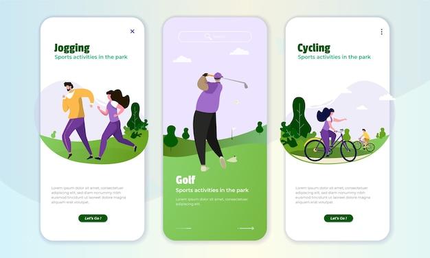 Illustrazione di attività sportive nel parco sul concetto di schermo a bordo
