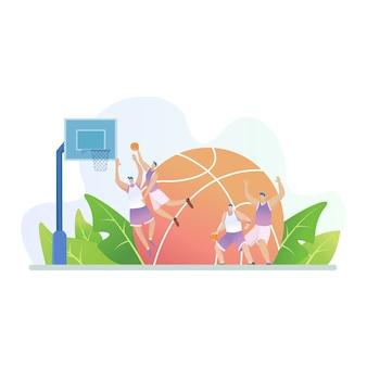 Attività sportive con persone che giocano a basket