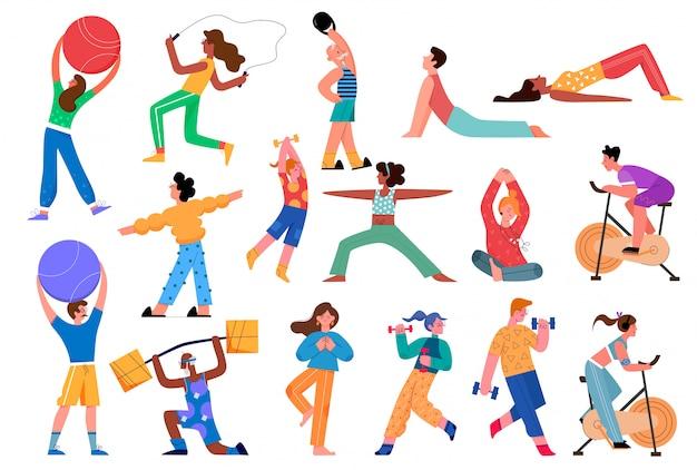 Insieme dell'illustrazione di attività sportiva. accumulazione dello sportivo attivo piatto del fumetto con carattere di donna uomo che fa yoga asana, esercizi di fitness con manubri in palestra, stile di vita sano isolato