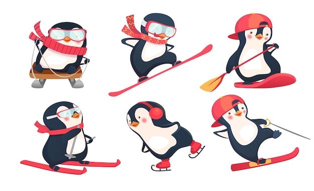 Attività sportiva, set di pinguini