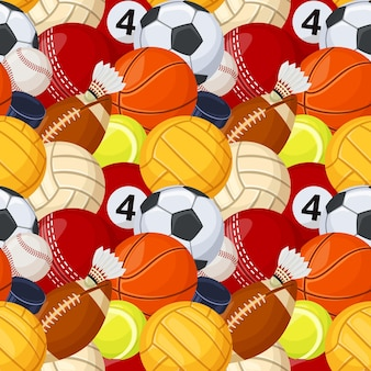 Sport palla modello senza cuciture gioco baseball calcio calcio tennis hockey fumetto vettoriale texture
