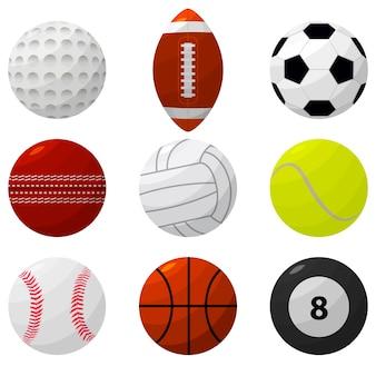 Set di palline sportive per giochi diversi. stile di design piatto.