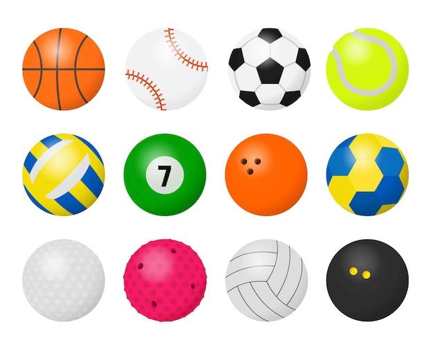 Palloni sportivi. attrezzatura per cartoni animati per giocare a giochi sportivi, calcio basket baseball pallavolo