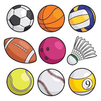 Set di cartoni animati di palle sportive