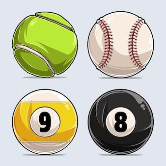 Collezione di palline sportive, pallina da baseball, pallina da tennis, biliardo 8 e 9 palline
