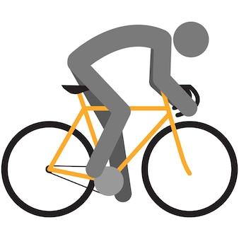 Pittogramma di sagoma del ciclista di vettore dell'icona del ciclista della bicicletta sportiva