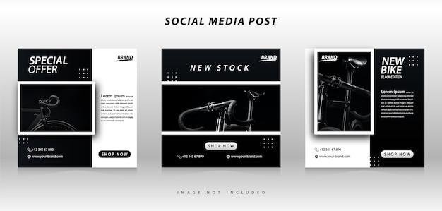 Modello di raccolta banner social media bici sportiva