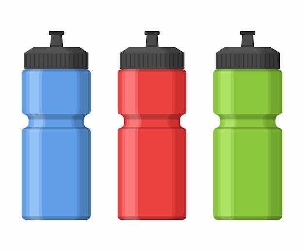 Bottiglie di sport per acqua in stile piatto isolato. sipper