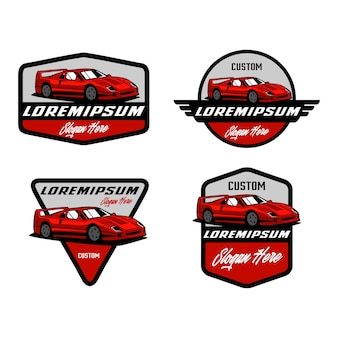 Modello di progettazione di logo distintivo di auto sportiva