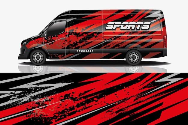 Sport car decal wrap design vettoriale