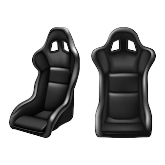 Sedile di guida per auto sportiva in pelle nera. su sfondo bianco. in vista frontale e laterale.