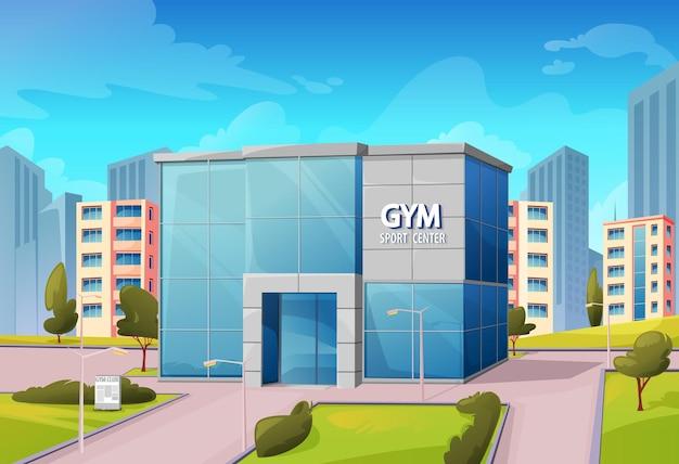 Edificio palestra centro sportivo su strada cittadina, fitness o club di bodybuilding