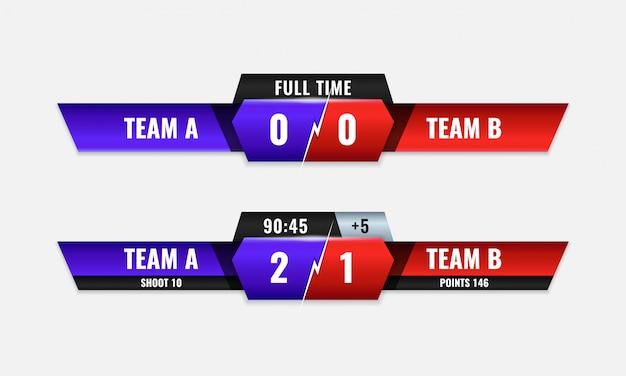 Tabellone segnapunti della competizione sportiva moderno design colorato