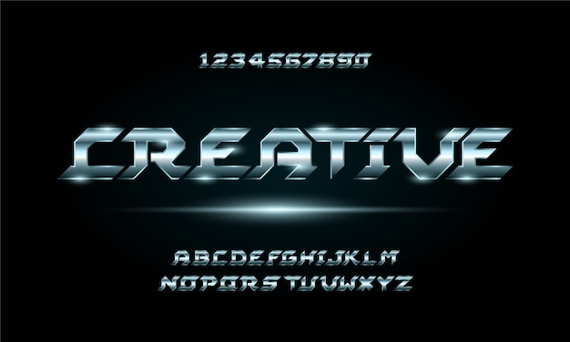 Fonte di alfabeto futuristico moderno digitale di sport. caratteri tipografici in stile urbano per tecnologia, digitale, design del logo del film