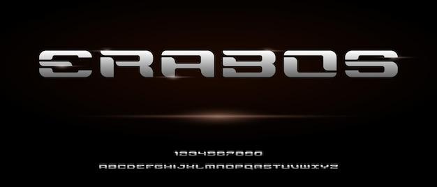Alfabeto futuristico moderno digitale sportivo con modello di stile urbano