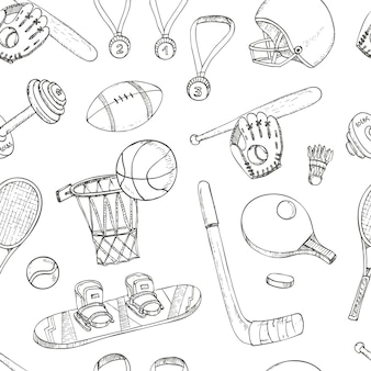 Lo sport doodles il modello senza cuciture