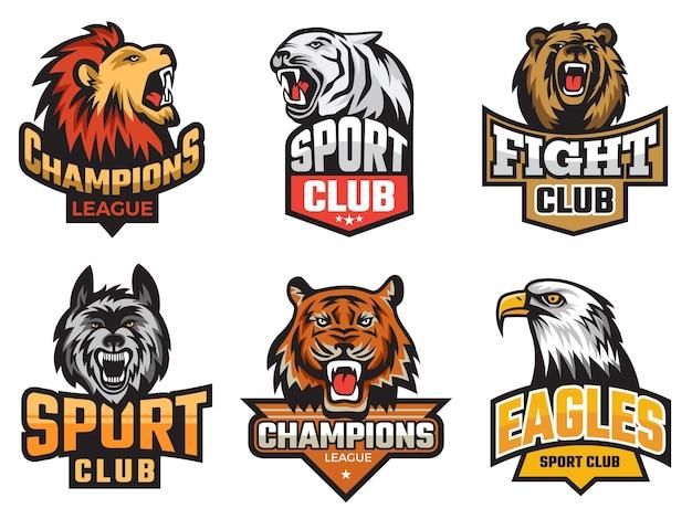 Pacchetto emblema sportivo. animali selvatici immagine stilizzata per logo o stemmi di squadra scudi con mascotte animali lupo orso vettore. distintivo animale dell'emblema dell'illustrazione, mascotte della bestia per la squadra sportiva