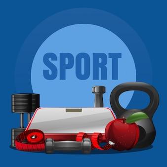 Concetto di attrezzatura sportiva con diversi tipi di manubri, peso, bilancia da bagno, mela, centimetro. sfondo di attrezzature sportive.