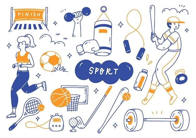 Attrezzature sportive in doodle line art illustrazione