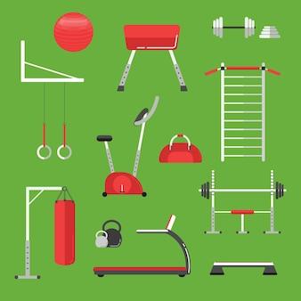 Icone piane dell'attrezzatura di sport isolate. allenamento in palestra, bodybuilding e stile di vita attivo, attrezzature per il fitness.