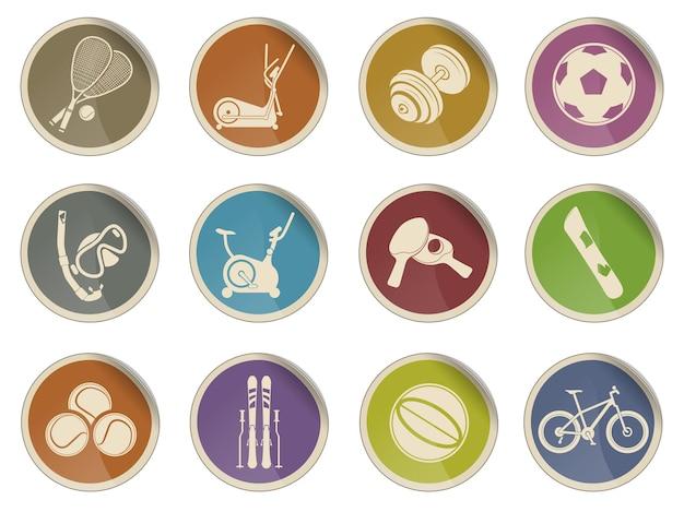 Set di icone vettoriali semplice attrezzatura sportiva