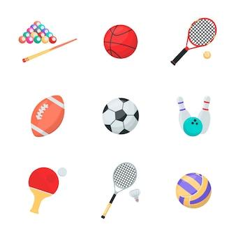 Insieme di vettore del fumetto di attrezzature sportive palle e razzi biliardo basket tennis rugby calzino bowling ping pong pallavolo