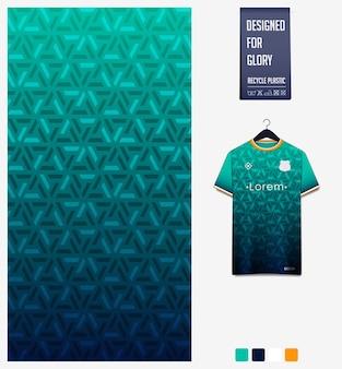 Design del modello in tessuto sportivo per maglia da calcio. sfondo astratto geometrico.