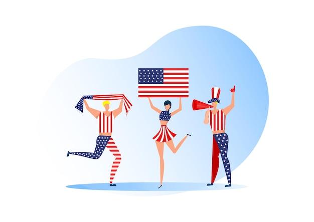 Appassionati di sport, gente degli stati uniti che celebra una squadra di calcio. supporto attivo della squadra simbolo di calcio e celebrazione della vittoria.