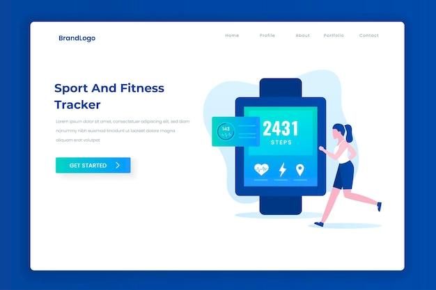 Concetto di pagina di destinazione dell'illustrazione del tracker per lo sport e il fitness