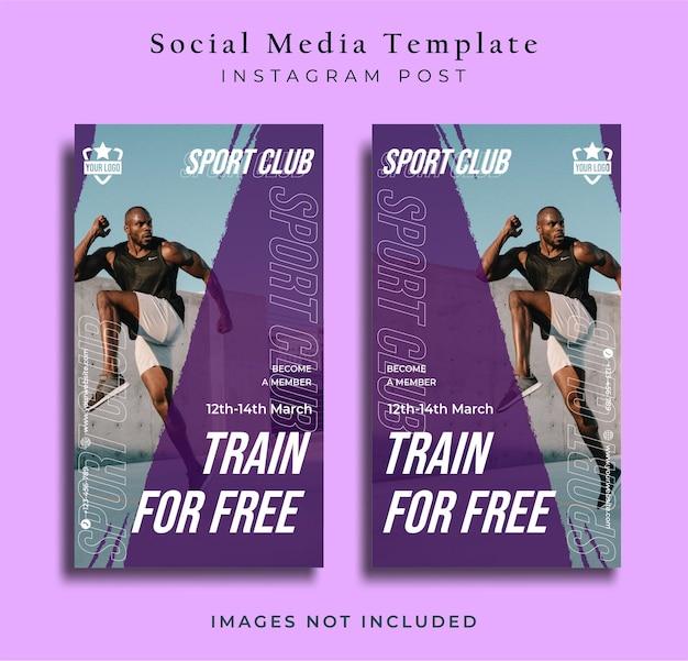 Volantino sportivo social media post instagram modello storia sfondo viola vettore premium