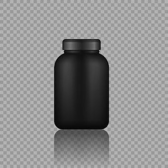 Contenitori per alimenti sportivi neri bottiglia di plastica nera realistica con vettore di proteine