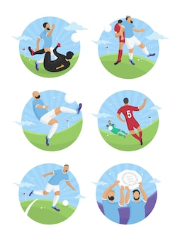 Illustrazione piana della partita di calcio di sport