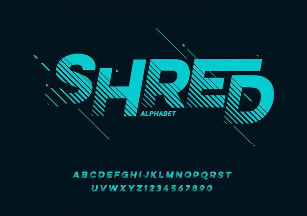 Sport curva futura, carattere alfabeto moderno onda