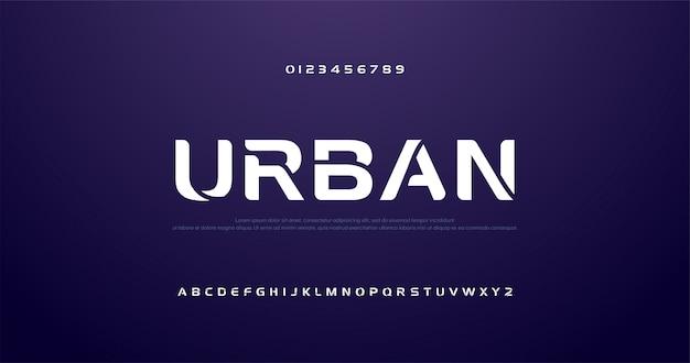 Sport futuro curva, onda font alfabeto moderno