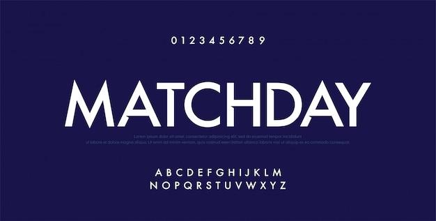 Sport futuro alfabeto moderno font e numero