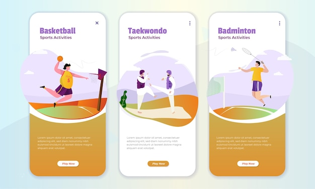 Illustrazione di attività di gioco sportivo sul concetto di schermo a bordo