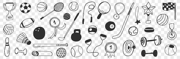 Insieme di doodle di attrezzature per giochi sportivi.