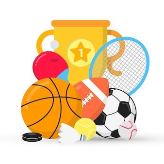 Composizione di gioco sportivo con palline calcio calcio basket