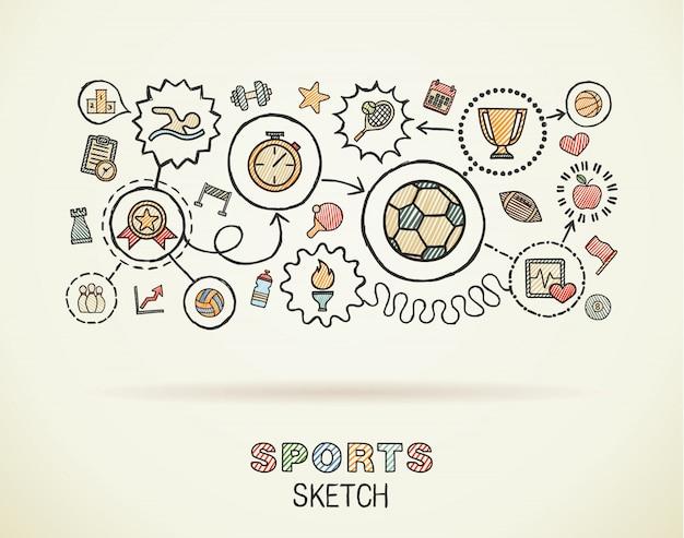 Icone integrate di tiraggio della mano di sport messe su carta. illustrazione infografica schizzo colorato. pittogrammi collegati di colore di scarabocchio, nuoto, calcio, calcio, gioco, forma fisica, concetto di attività